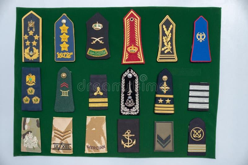 在显示的普通海军/军队一致的肩带 免版税库存照片