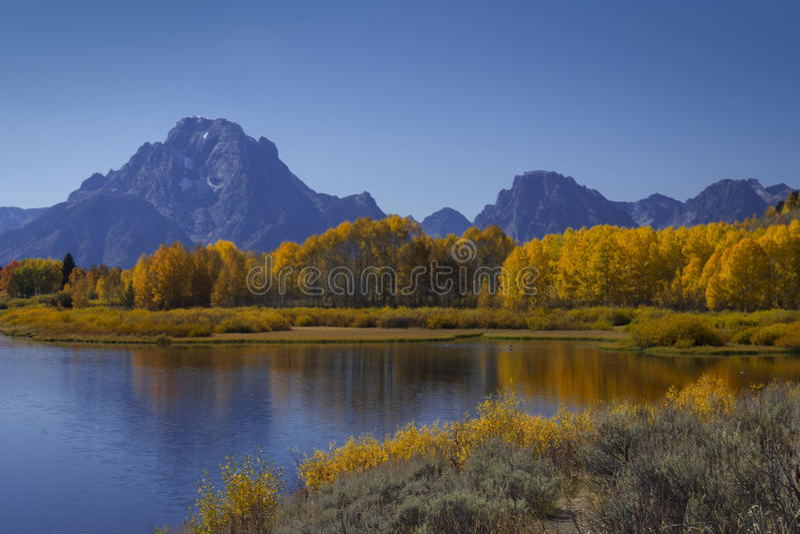 在显示的秋天在盛大Tetons 免版税库存照片