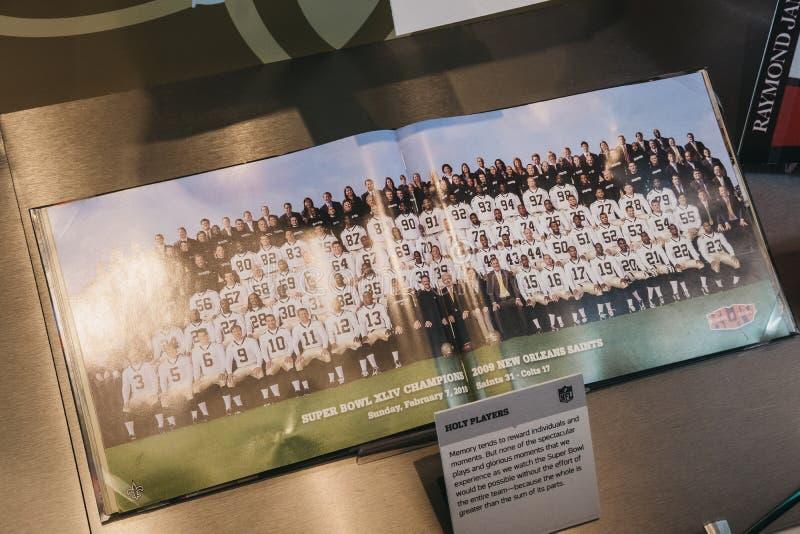 在显示的美国橄榄球联盟值得纪念的事在时报广场,Ne的美国橄榄球联盟经验 图库摄影