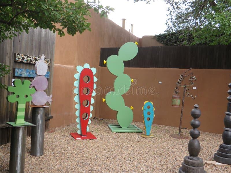 在显示的艺术在圣菲新墨西哥画廊 库存照片