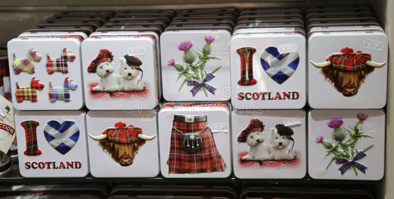 在显示的苏格兰地方纪念品在爱丁堡,苏格兰 库存照片