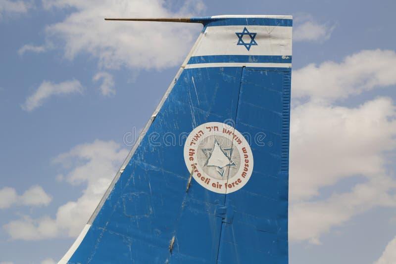 在显示的葡萄酒军用飞机在以色列空军队博物馆 库存图片