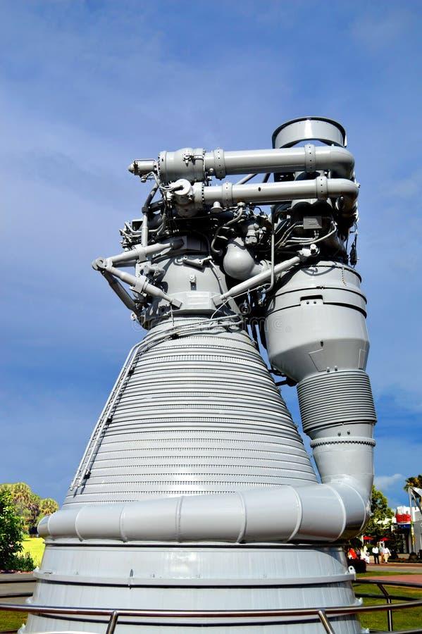 在显示的阿波罗F1引擎在肯尼迪航天中心 库存图片