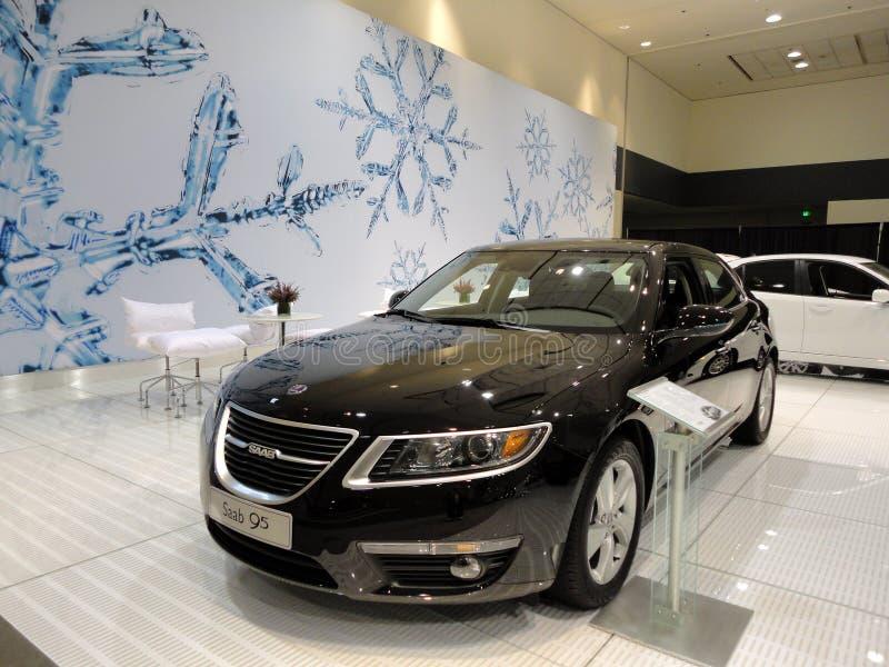 在显示的黑色Saab 95 免版税库存照片
