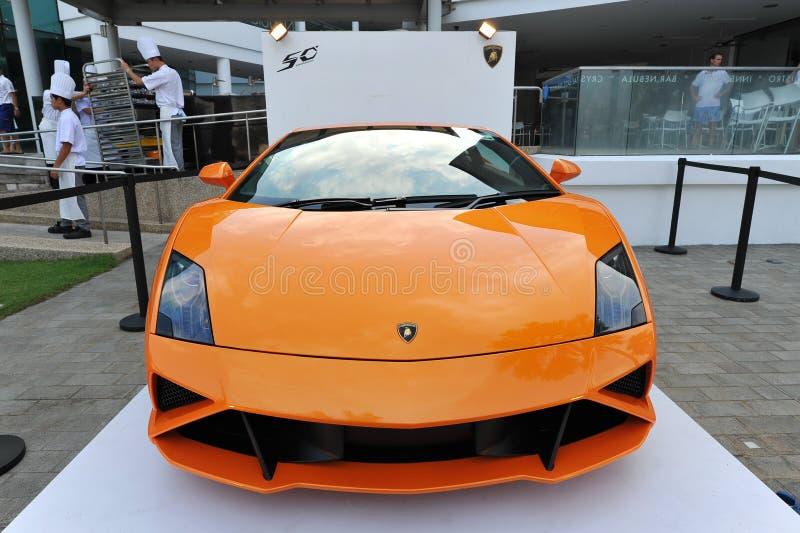 在显示的Lamborghini Gallardo在新加坡游艇展示2013年 免版税图库摄影
