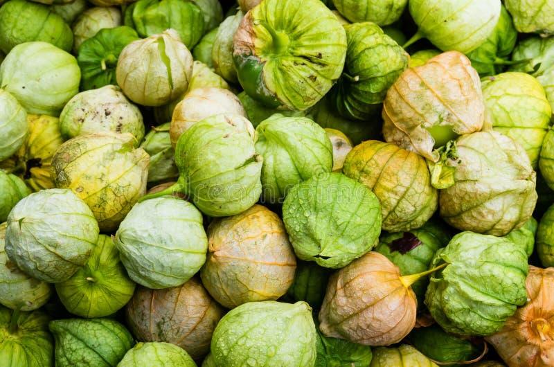 在显示的Tomatillos在市场上 图库摄影