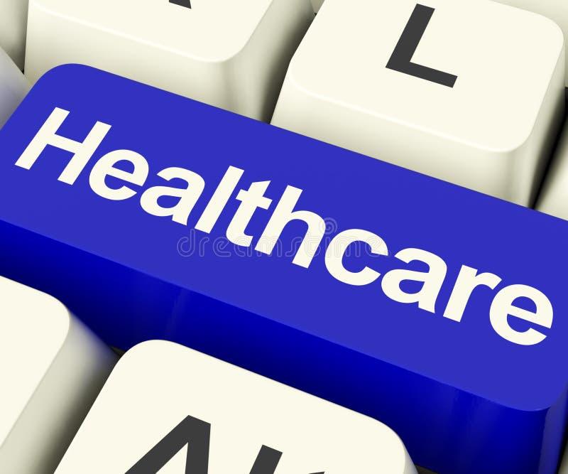 在显示网上医疗保健的蓝色的医疗保健钥匙 库存照片