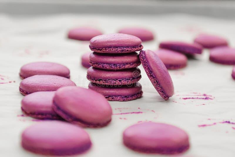 在显示食物摄影的紫色蛋白杏仁饼干 免版税库存图片