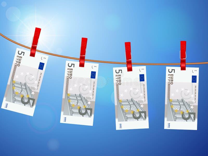 在晒衣绳的五张欧洲钞票 库存例证