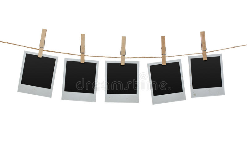 在晒衣绳的空白的照片 库存图片