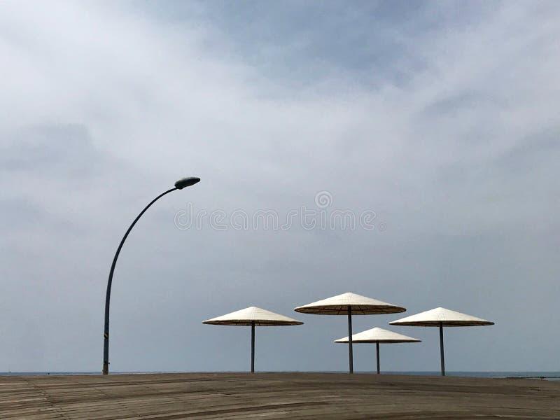 在晒黑的黄沙的时髦的懒人sunbed在海滩 库存照片