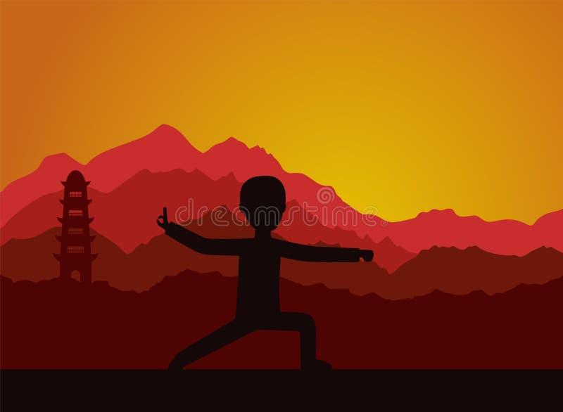 在晚上供以人员执行气功或taijiquan锻炼 皇族释放例证