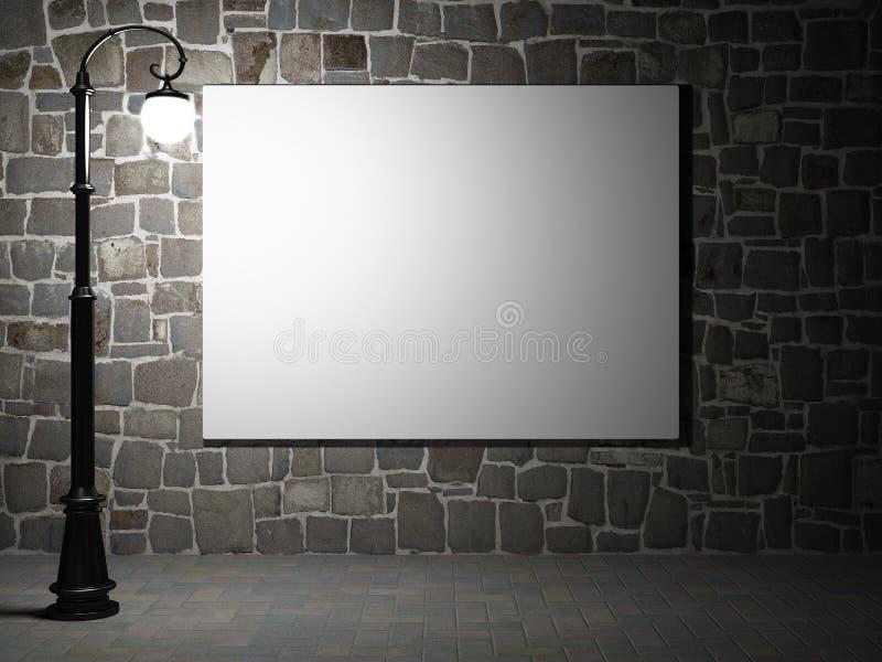 在晚上删去在砖墙上的广告牌 皇族释放例证