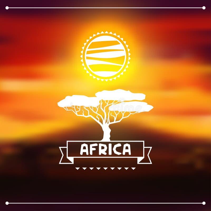 在晚上大草原的非洲种族背景