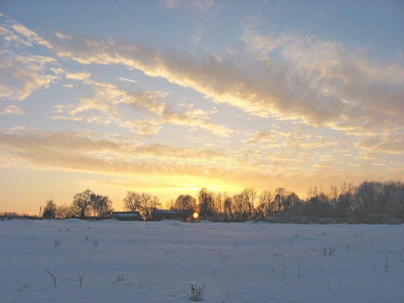 在晚上天空的金黄云彩 免版税库存照片