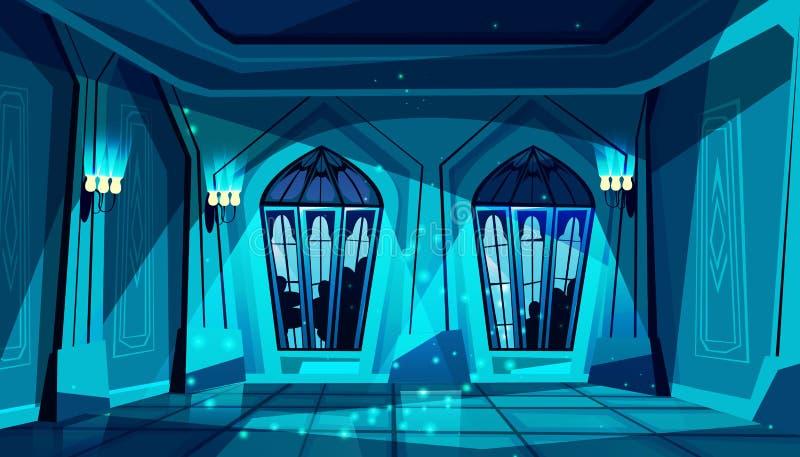 在晚上导航城堡舞厅,哥特式大厅 皇族释放例证