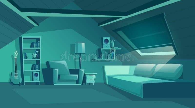 在晚上导航顶楼内部,有家具的阁楼 向量例证