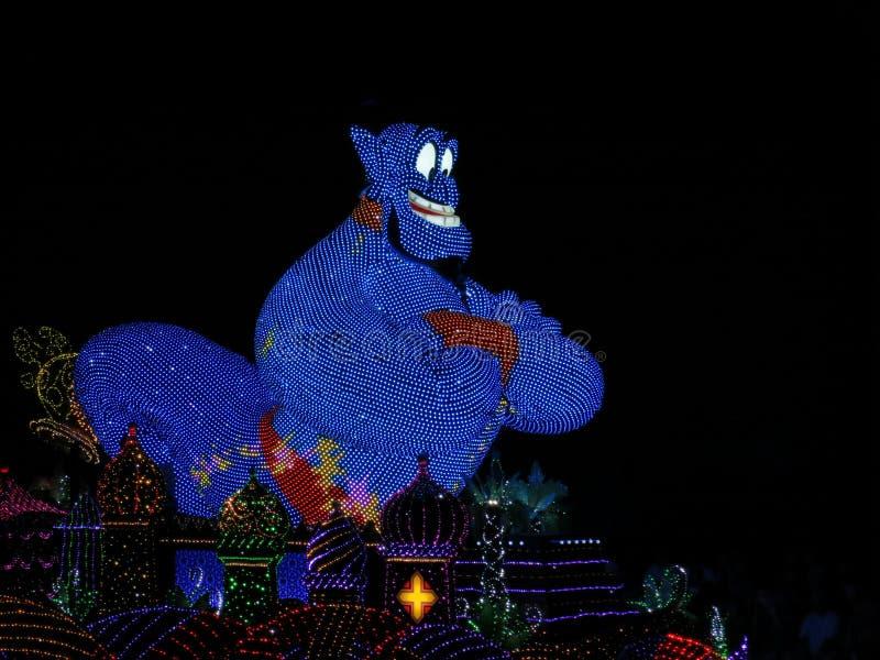 在晚上游行的灵魔在东京迪斯尼乐园 免版税库存照片