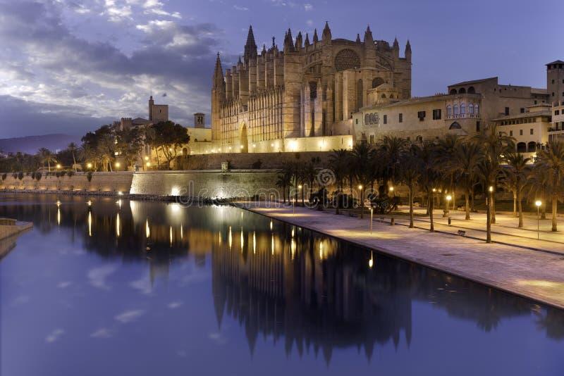 在晚上被射击的帕尔马La Seu圣玛丽亚著名大教堂亦称美丽的宽射击  库存照片