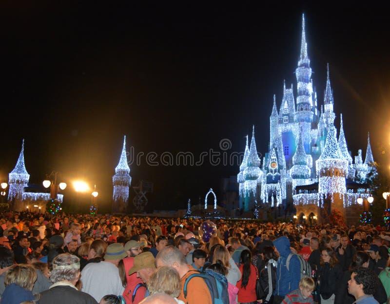 在晚上被照亮的灰姑娘城堡,不可思议的王国,迪斯尼 免版税库存照片