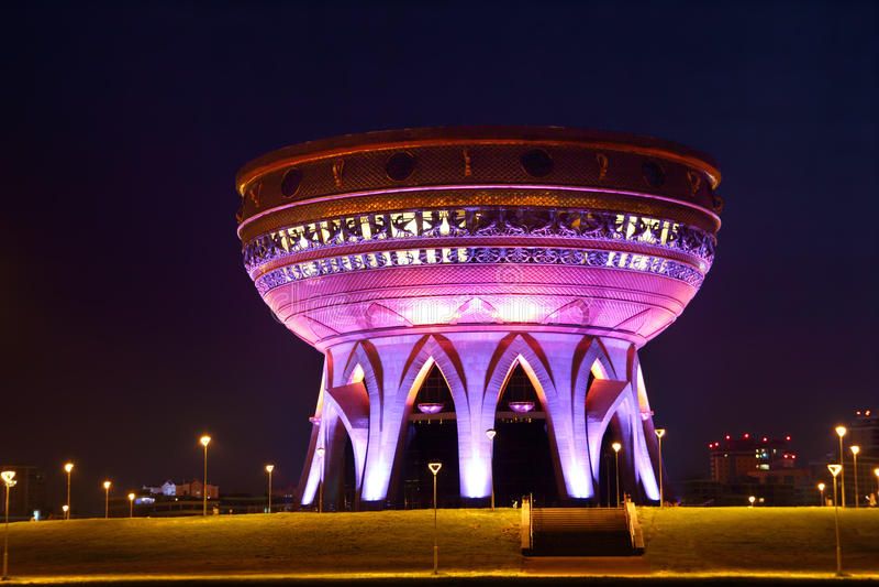 在晚上被阐明的宫殿婚礼在喀山 库存照片