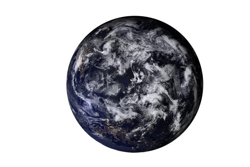 在晚上被隔绝的太阳系的行星地球顶端 美国航空航天局装备的这个图象的元素 图库摄影