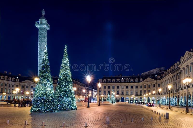 在晚上,巴黎,法国安置Vendome 库存照片