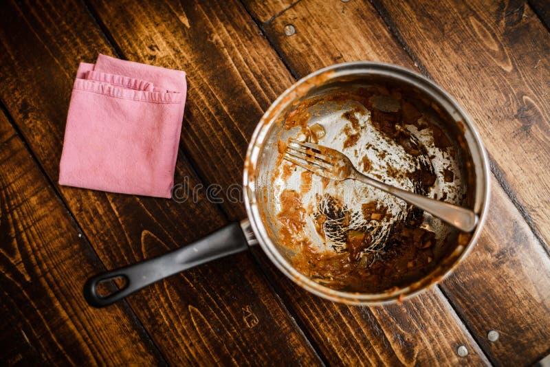 在晚餐以后的肮脏的平底锅 免版税库存照片