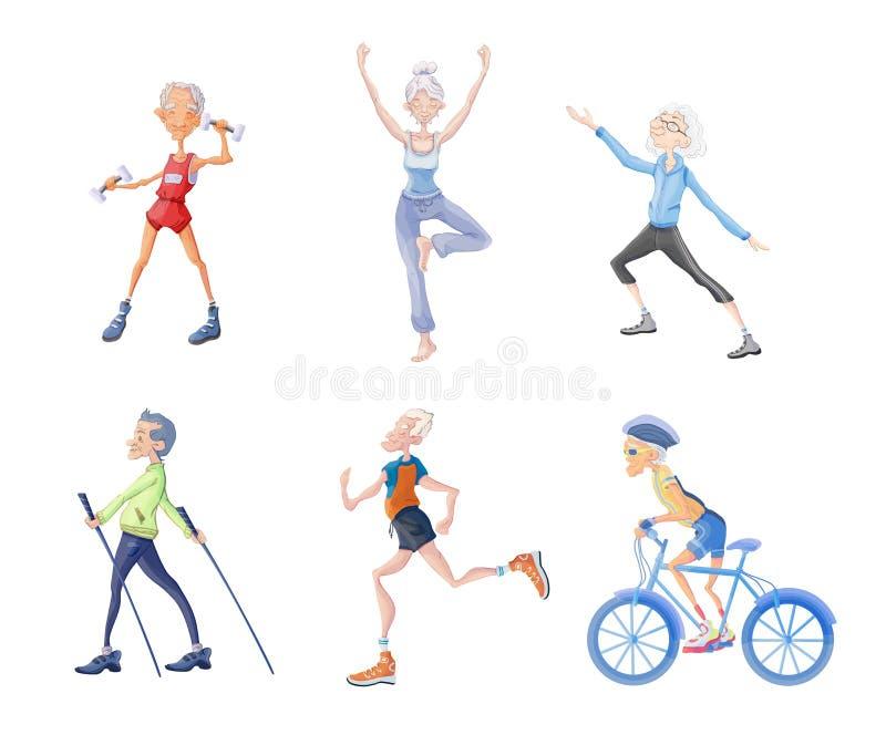 在晚年的健康生活方式 老年人、男人和妇女向体育,在新鲜空气的体育活动求助 向量 库存例证