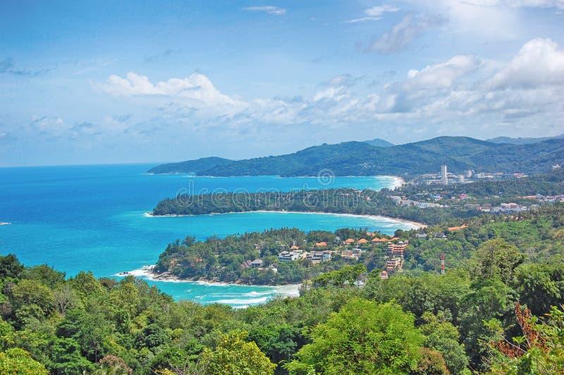 在普吉岛海岛,泰国- Kata上的Kata观点 库存图片