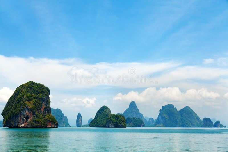 在普吉岛,泰国附近的Phang Nga群岛 免版税图库摄影