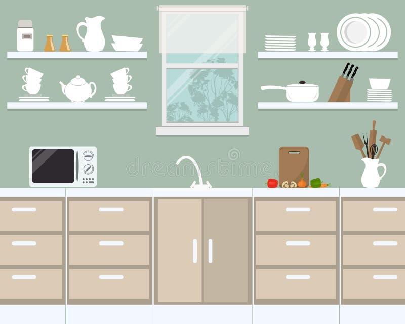 在普罗旺斯颜色的厨房内部 向量例证