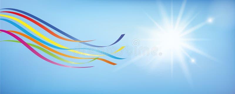在晴朗的天空蔚蓝的五颜六色的五月柱丝带 皇族释放例证
