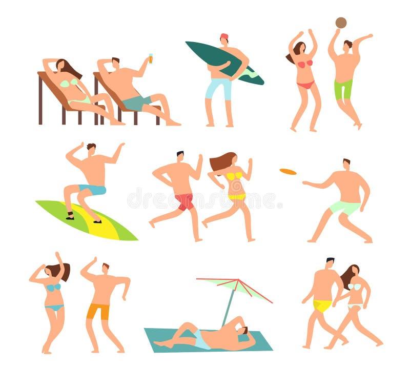 在晴朗的海滩的年轻和愉快的家庭 传染媒介人字符暑假 皇族释放例证