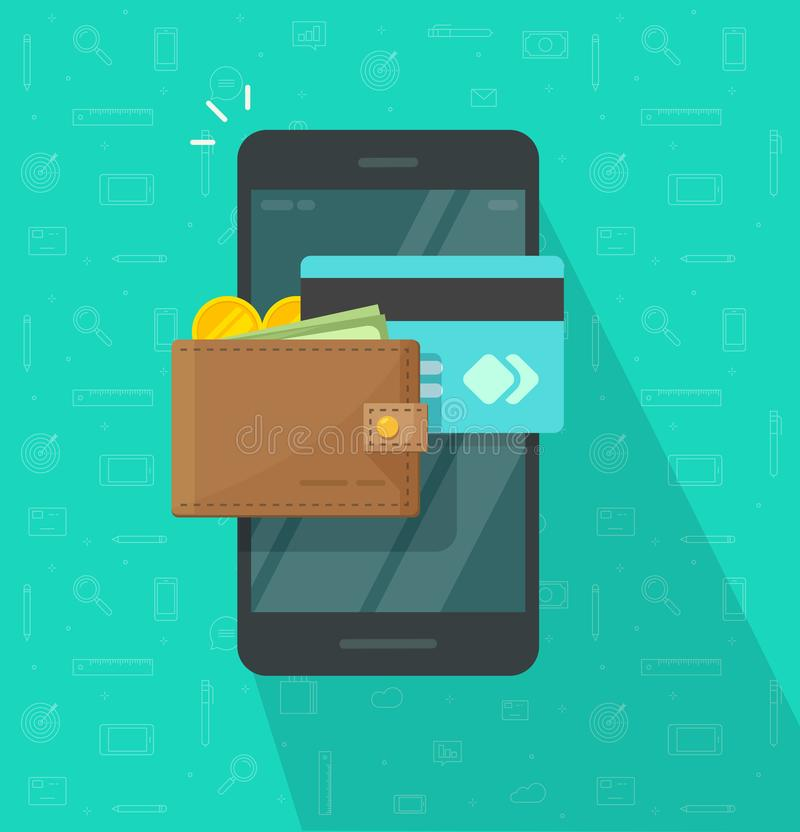 在智能手机传染媒介象的电子钱包,平的有数字金钱钱包的设计流动手机屏幕和信用卡 库存例证