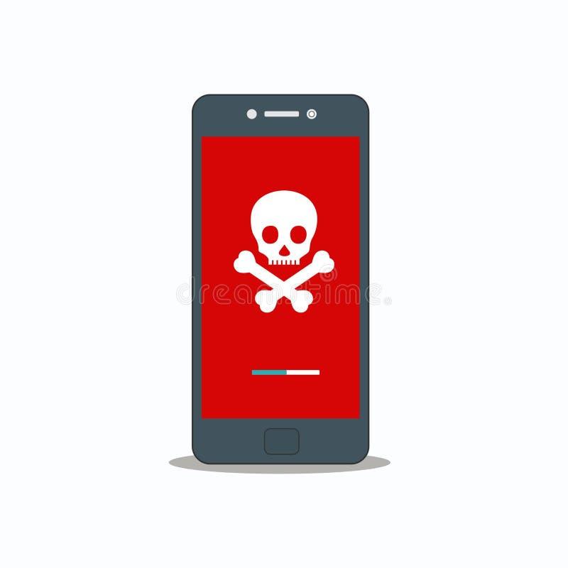 在智能手机传染媒介, malware概念,垃圾短信数据,欺骗互联网错误的机敏的通知 向量例证