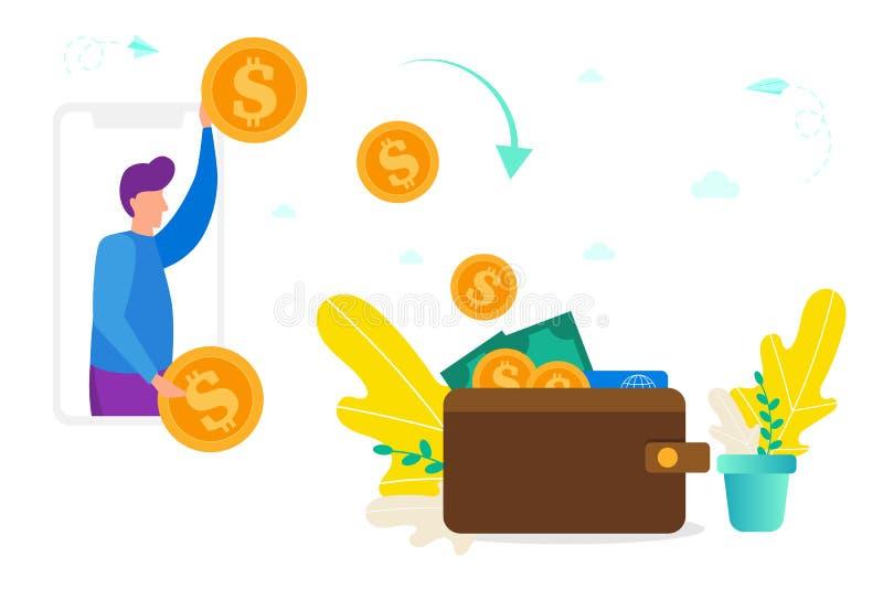 在智能手机和钱包,金钱,网上付款,转动的网上金钱的给/收到的概念之间的汇款到现金里 库存例证