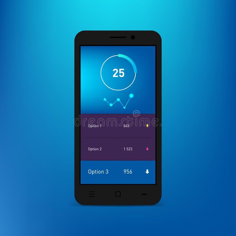 在智能手机屏幕上的仪表板infographic模板 传染媒介梯度大模型 现代UI网络设计 圆图,酒吧 库存例证