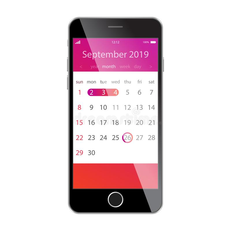 在智能手机屏幕上的日历 计划,日程表,时间表,任命,提示app概念 2019年9月 皇族释放例证
