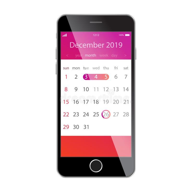 在智能手机屏幕上的日历 计划,日程表,时间表,任命,提示app概念 2019年12月 向量例证