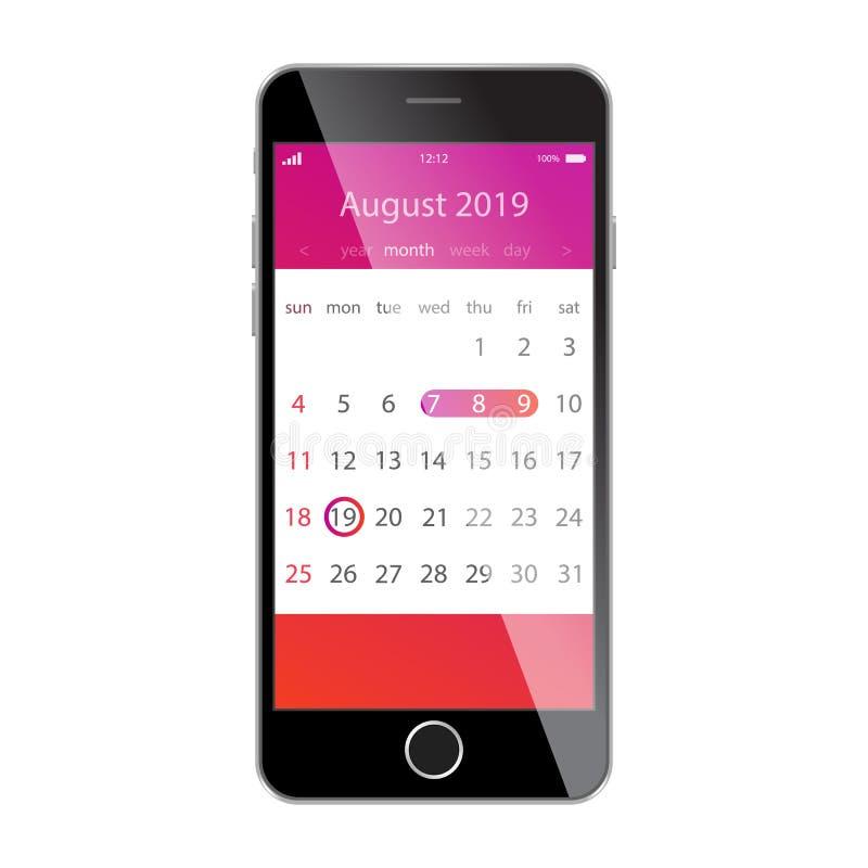 在智能手机屏幕上的日历 计划,日程表,时间表,任命,提示app概念 2019年8月 库存例证