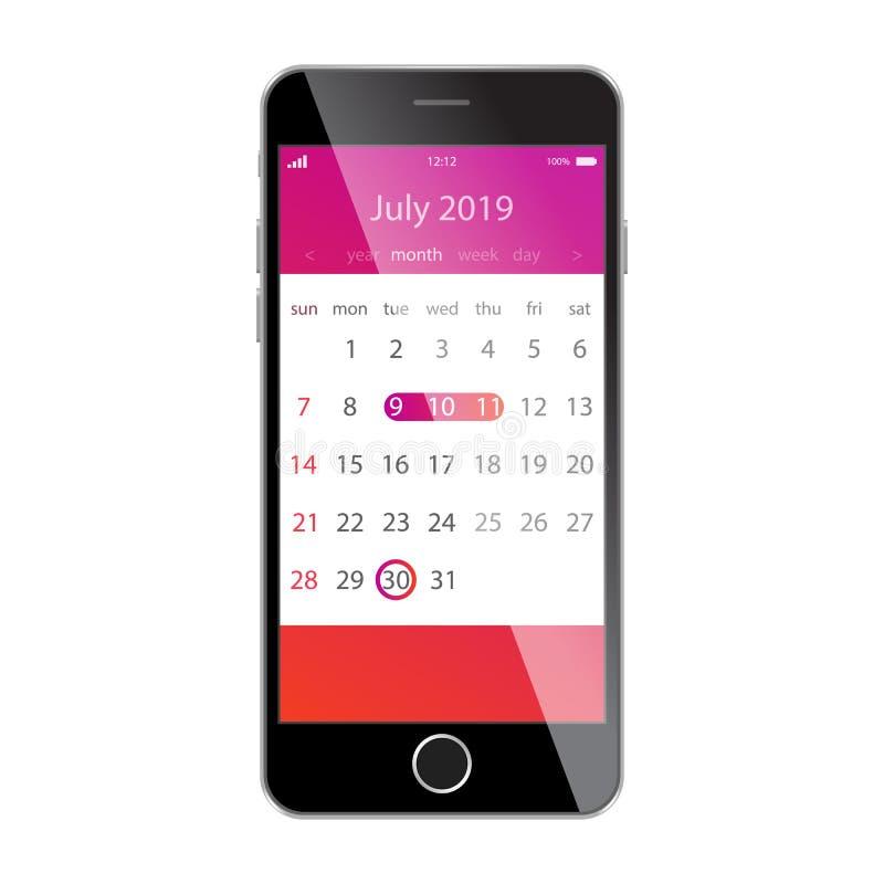 在智能手机屏幕上的日历 计划,日程表,时间表,任命,提示app概念 2019年7月 皇族释放例证