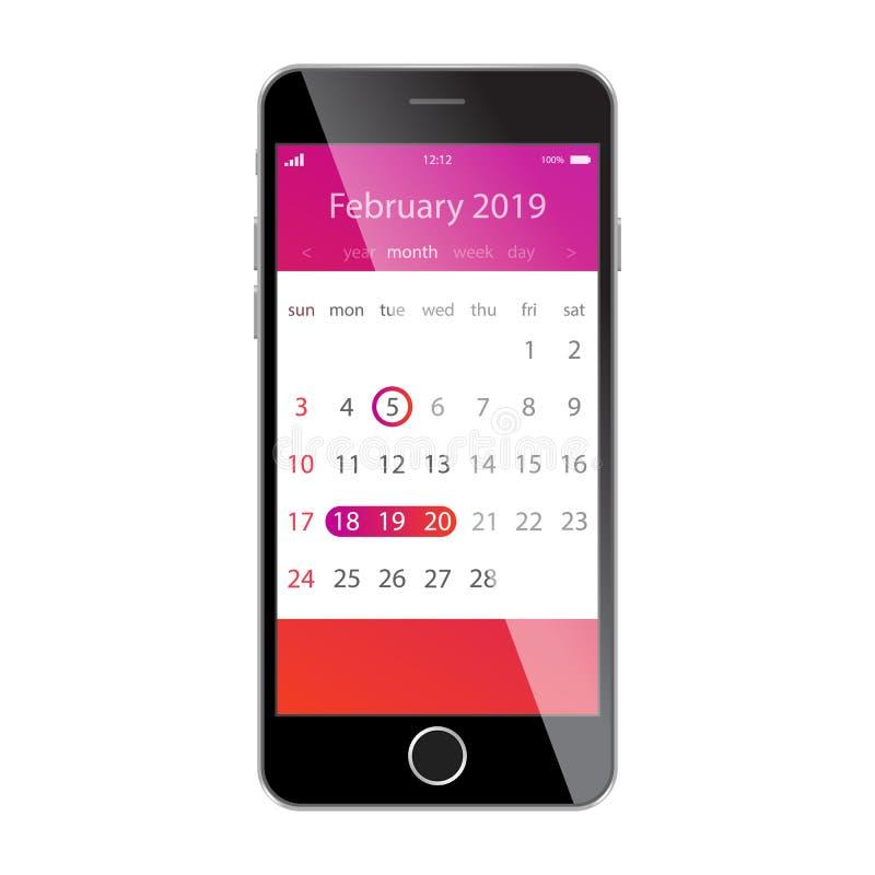 在智能手机屏幕上的日历 计划,日程表,时间表,任命,提示app概念 2019年2月 皇族释放例证
