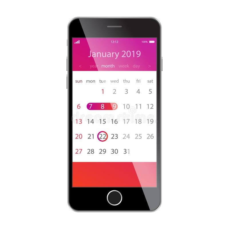 在智能手机屏幕上的日历 计划,日程表,时间表,任命,提示app概念 2019年1月 向量例证