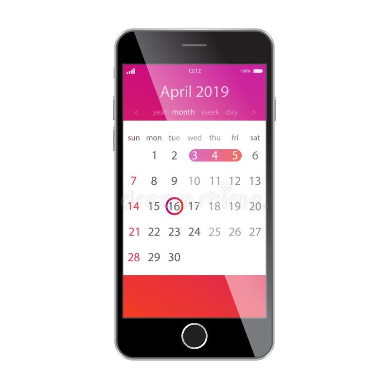 在智能手机屏幕上的日历 计划,日程表,时间表,任命,提示app概念 2019年4月 皇族释放例证