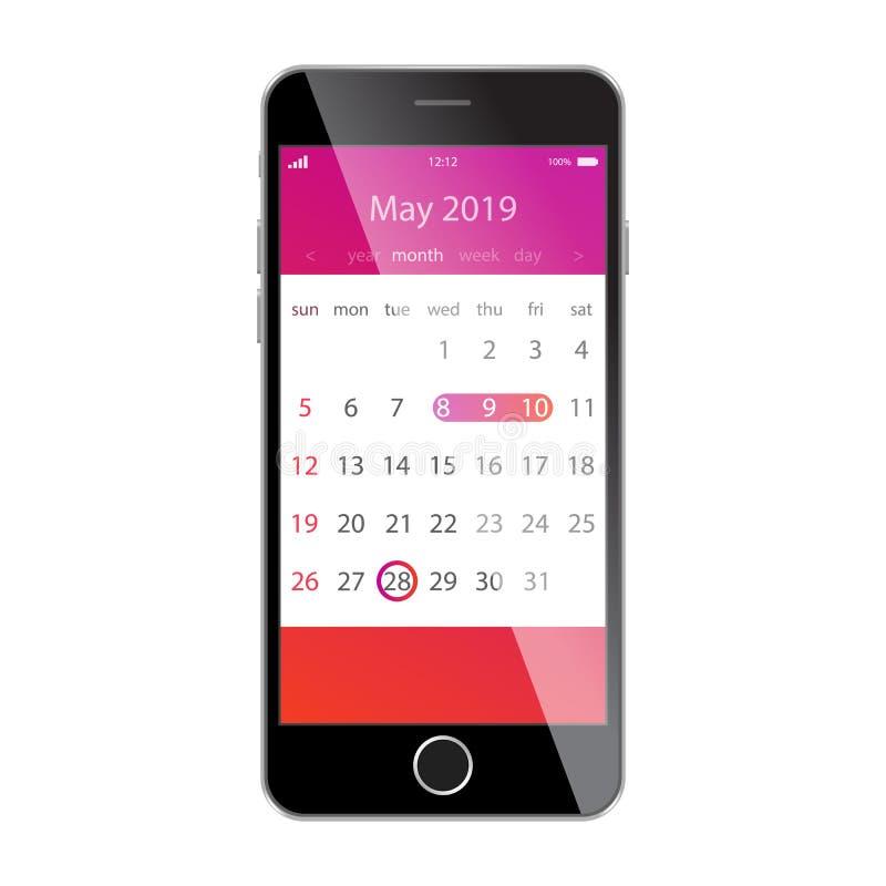 在智能手机屏幕上的日历 计划,日程表,时间表,任命,提示app概念 2019年5月 库存例证