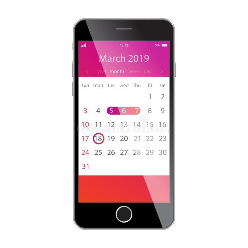 在智能手机屏幕上的日历 计划,日程表,时间表,任命,提示app概念 2019年3月 向量例证