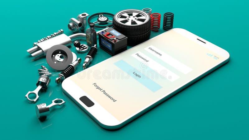 在智能手机屏幕上的汽车零件 3d例证 皇族释放例证