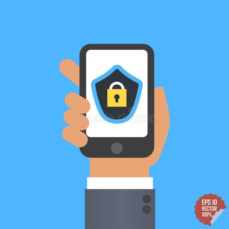在智能手机屏幕上的流动安全app 用户触摸屏 平的设计例证 库存例证