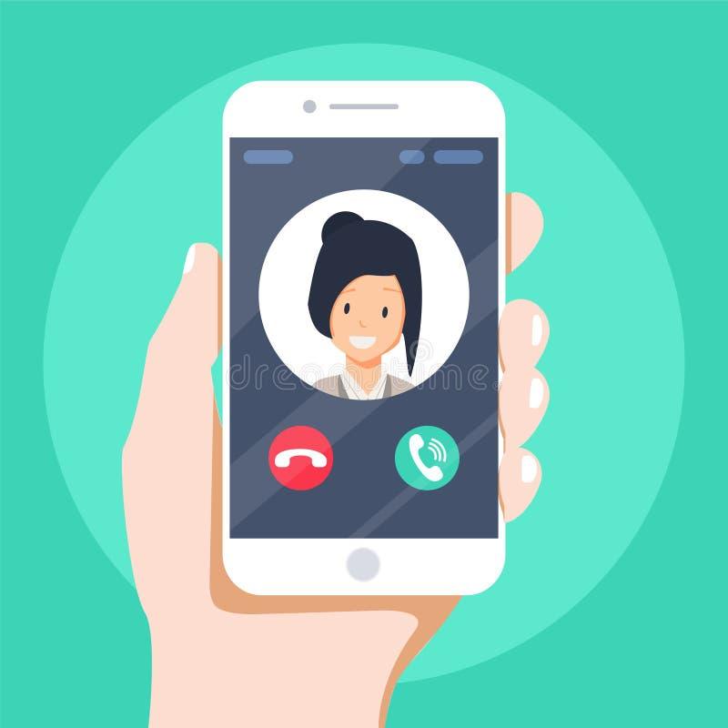 在智能手机屏幕上的进来电话 平的设计传染媒介例证 叫服务 网横幅的现代概念 皇族释放例证